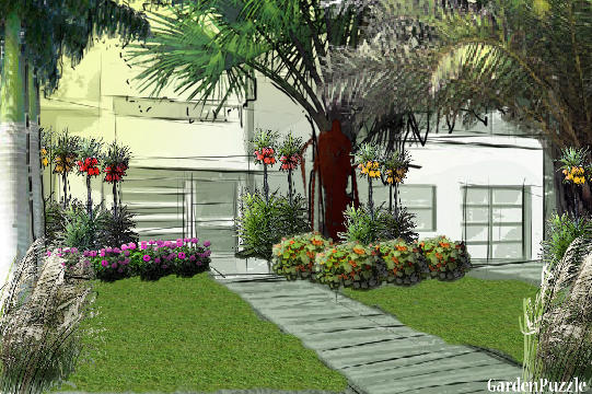palm tree garden - Garden Design Trees