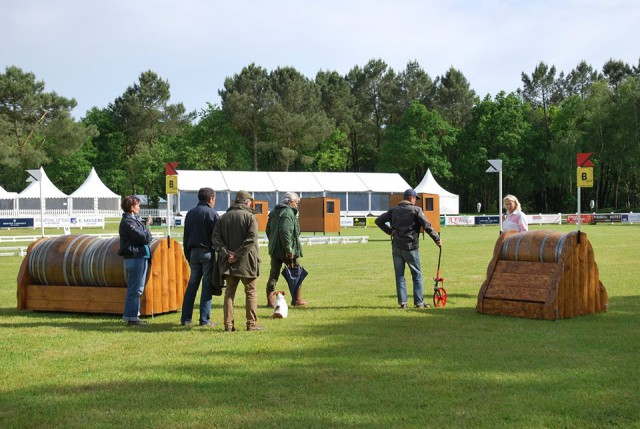 The ground jury inspects the Saumur cross country course. Photo from the Saumur Complet Facebook page.