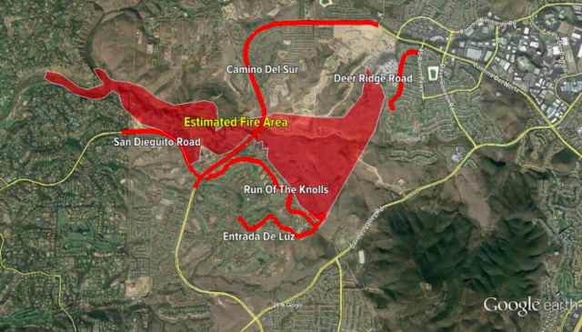 Map of the fire area as of yesterday evening. Photo from CBS San Diego's Twitter.