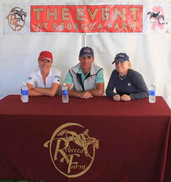The CIC3* leaders, left to right: Jen McFall, Matt Brown, and Hawley Bennett-Awad. Photo via the Rebecca Farm Facebook page.