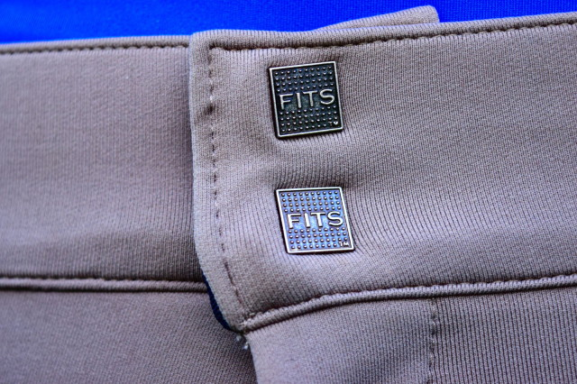 Buttons on two hook closures on front of FITS Treads All Season Full Seat Breeches - Photo by Lorraine Peachey