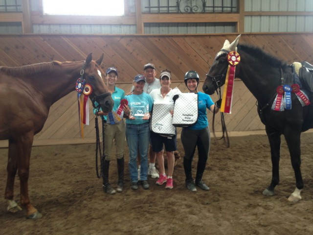High Point and Reserve Thoroughbred Winners, Jill O'Donoghue, and Sponsors Randy Cook and Susan Fischer