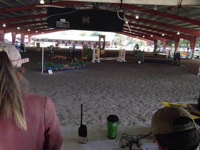 The view from the announcers' booth. Photo via the Pacific Indoor Eventing Facebook page.