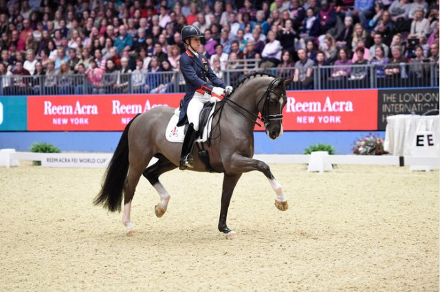 Charlotte Dujardin and Valegro competing at 2014 London Olympia. Photo courtesy of Kit Houghton/FEI.