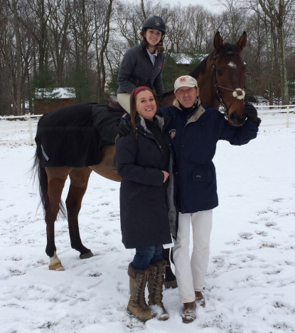 Daniel Stewart with Tara O'Grady of An Equestrian Edge who hosted the clinic and Sophie Tallman, an   aspiring upper level Young Rider and her 6-year-old OTTB. Photo courtesy of Danielle Zandirad.