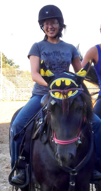 Thanks to Ear Me Now Fly Bonnets, my Batman obsession extends to my horse's gear as well. Photo by Mary Zuhn.