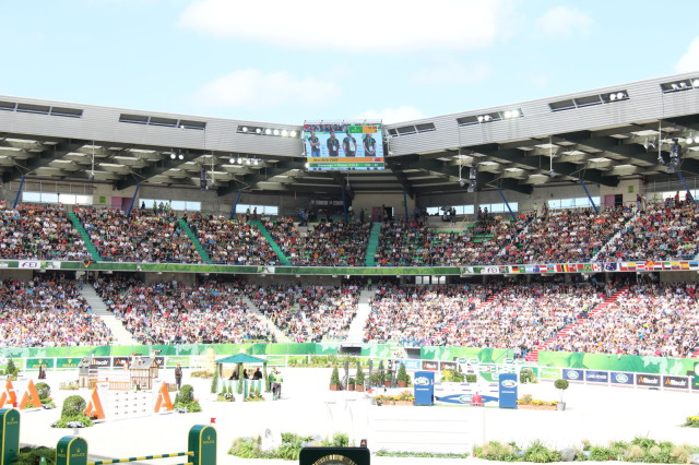 A view from the stands during WEG 2014. Photo by Leslie Wylie.
