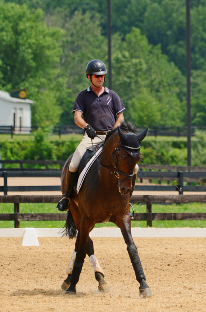Phillip Dutton and Fernhill Cubalawn in their lesson with David O'Connor at Morningside. Photo by Jenni Autry.
