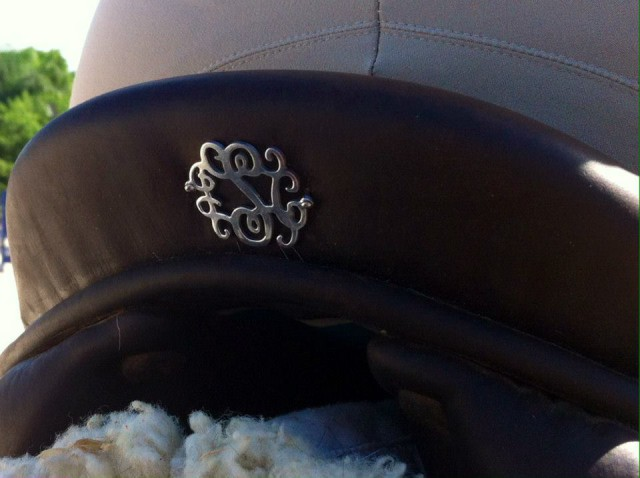 Tired of the same old name plates? Check out these gorgeous monograms from Swanky Saddle. Photo courtesy of Swanky Saddle Co.