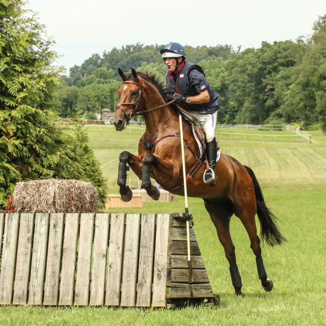 Phillip Dutton and Mr. Candyman on the cross country course. Photo by Cindy Lawler.