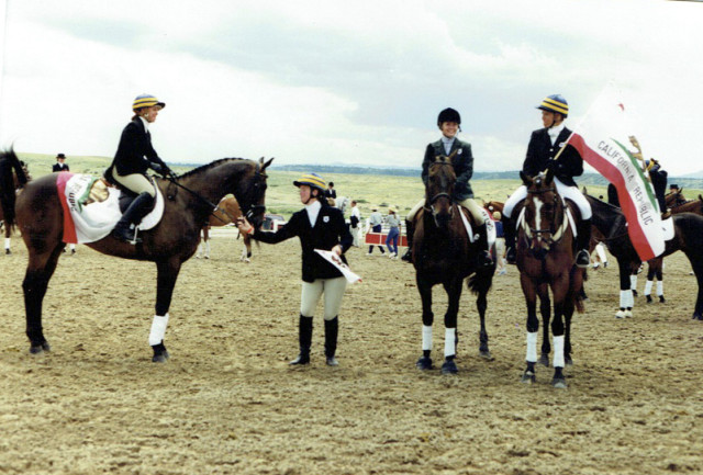 Area VI at NAJYRC in 1998! From left, Suzanne Andreotti and Buehler, Katie Weil, Molly Kinnamon with Sweet William, and Heather Morris and Rebel Express. Photo courtesy of Molly Kinnamon.