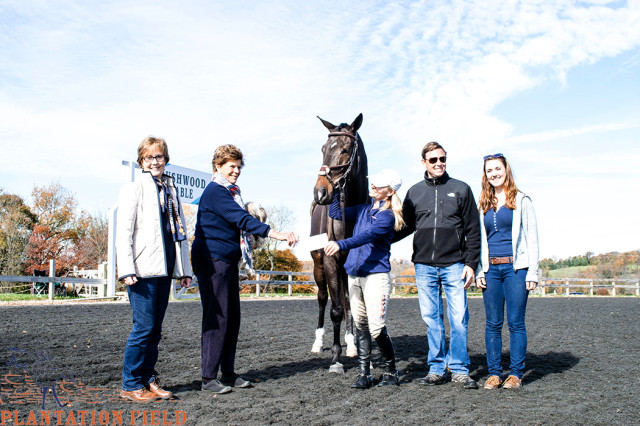 Molly and Bryce Kinnamon's MK's Concord Dawn, became the first winner of the Plantation Thoroughbred series. Presenting the $5,000 check to Molly and Bryce is Kathleen Crompton with (pictured left to right) Janet Ritchey (breeder), Kathleen Crompton, Molly and Bryce Kinnamon and Hannah Metz. Photo by Amy Dragoo.