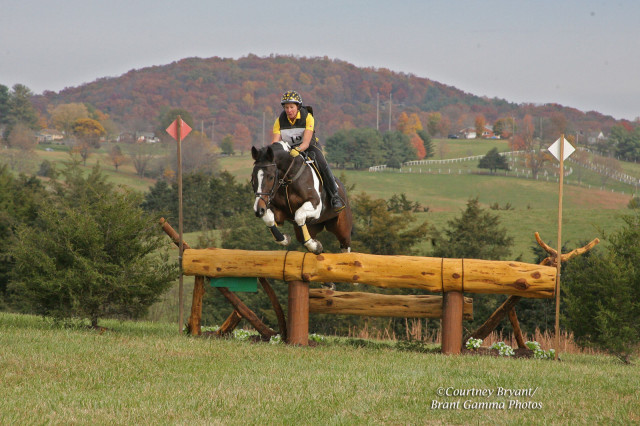 Penny Roland and Northwinds Breeze on the CCI* course at VHT. Photo by Brant Gamma.