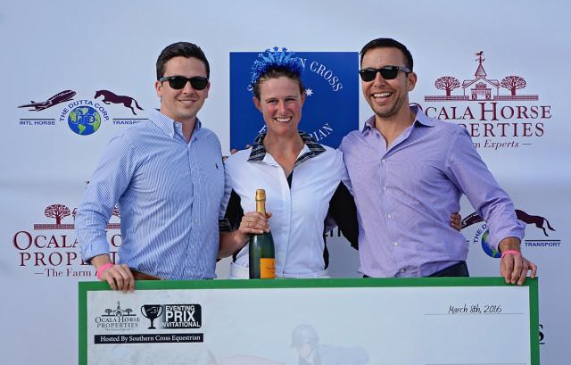 Matt Varney and Rob Desino of title sponsor Ocala Horse Properties with $15,000 Eventing Prix Invitational winner Lauren Kieffer.