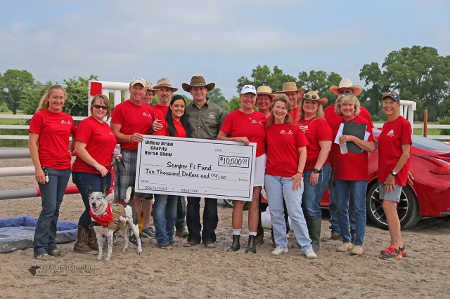 Tre' and Janet Book, organizers of Willow Draw Charity Horse Show (horse trials) and owners Willow Draw Presenting $10,000 from the show to the Semper Fi Fund Chris (veteran) and Crystal Lowe, representing Semper Fi Fund for wounded veterans Chris' service dog Koda Volunteers for the Willow Draw May 28th horse trials. Photo by Terrie Hatcher Photography.