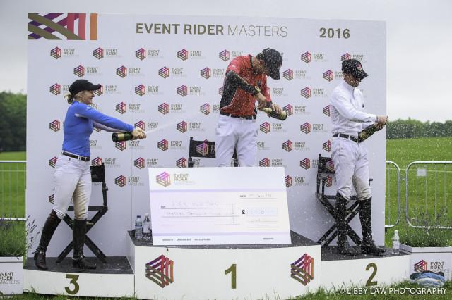 ERM Bramham Prizegiving: First: CHN-Alex Hua Tian, second, USA-Clark Montgomery, Third: NZL-Jonelle Price Equi-Trek Bramham International Horse Trial. Photo by Libby Law Photography