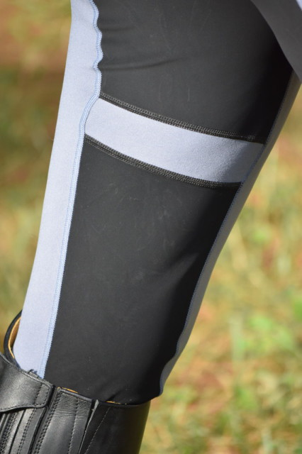 I personally like the Gripstretch panels of the Flex tights, because the strategically placed panels help to provide a mid level amount of stick in the saddle. Photo by Lorraine Peachey.