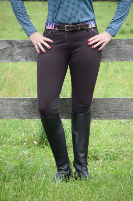Wearing and riding in the Hampton breeches has been a comfortable experience. While the fabric stretches and moves comfortably with my body, the V3 technology keeps my waistband in place nicely. Photo by Lorraine Peachey.
