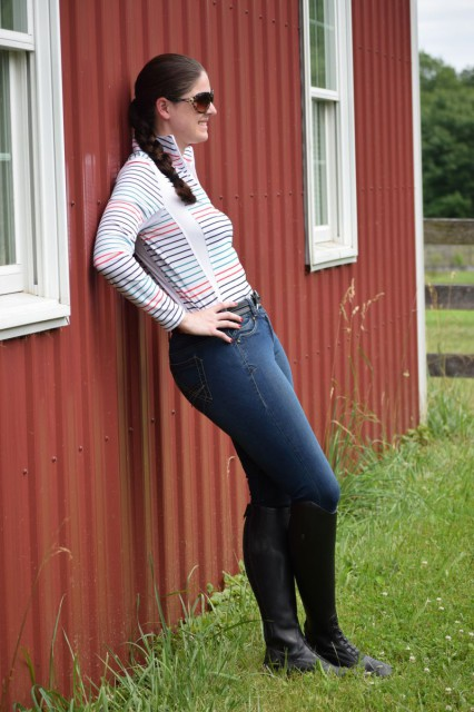 Wearing the Denim Breeches make me feel like I'm wearing a pair of my favorite jeans. The premium cotton stretch fabric hugged my curves in a way that was comfortable and flattering. Photo by Lorraine Peachey.