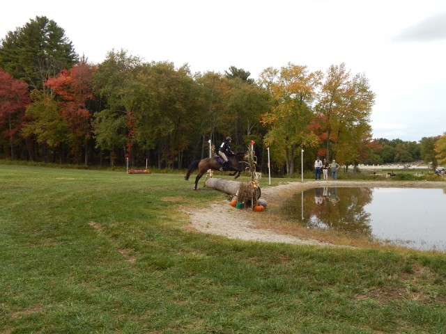 A rider at Course Brook Farm tackles the water complex. Photo courtesy of Kristie Gill.