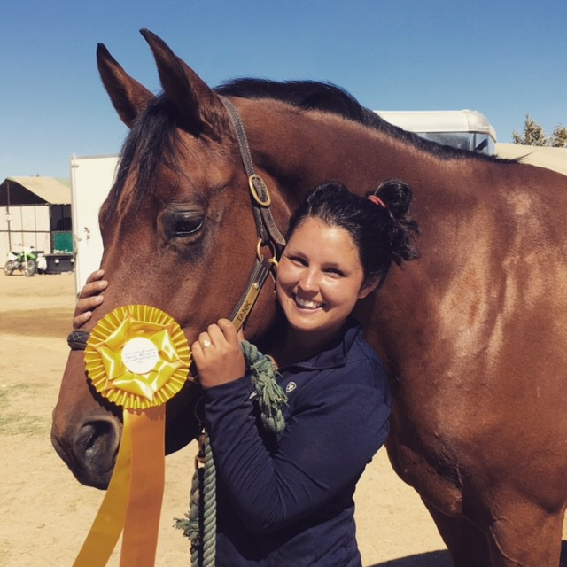 Tank and Aine Minihane with their 3rd place ribbon from Twin Rivers HT in BN Senior Rider. Photo by Dana Grant.