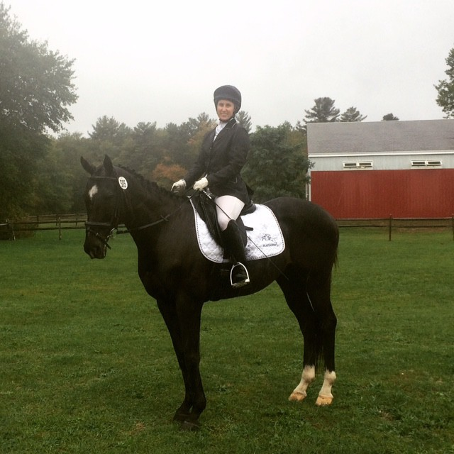 """Our first show after the surgery, schooling show in cold rainy weather and we won both classes!"" Photo courtesy of Andrea Bagley."