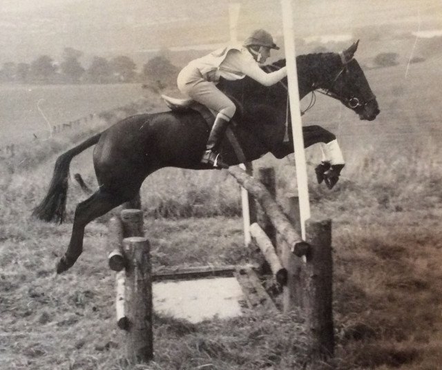 International rider, coach and judge Judy Bradwell on Duchess of Argyll at her first adult official horse trials in 1966 at Wakefield in Yorkshire. They upgraded to Intermediate in their first year, winning three. Judy was Britain's leading rider for three years, winner of Burghley and in recent times dressage trainer of the New Zealand team. Photo by Judy Bradwell.