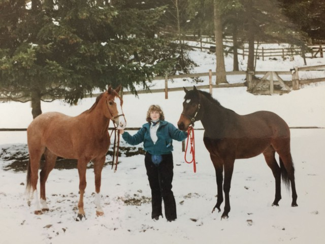 My aunt, Merry Farrington, with Dixie and Sonny, sometime in the late 80's or early 90's.