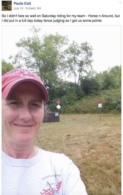 VTC participants who volunteered posted selfies to the Facebook group in order to earn points for their teams. Photo courtesy of Paula Colt.