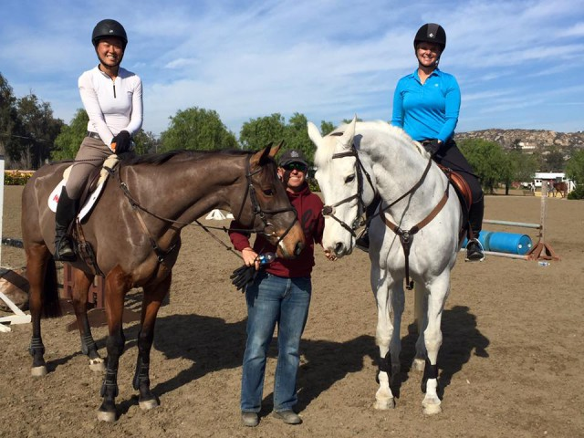 EN's own Sally Spickard and  enjoying a Buck Davidson clinic in sunny California. Photo via Sally.