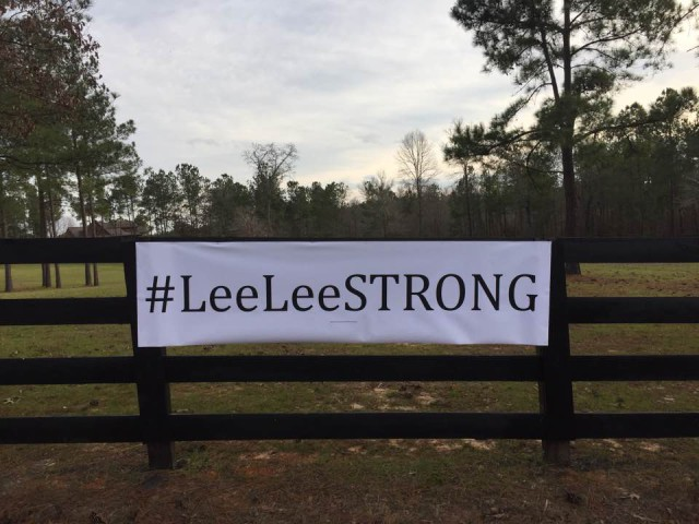 Joan Hampf's farm is right across from Team Dutton in Aiken, SC and she hung this sign to support Lee Lee. Love you Joan! Photo by Doug Payne.