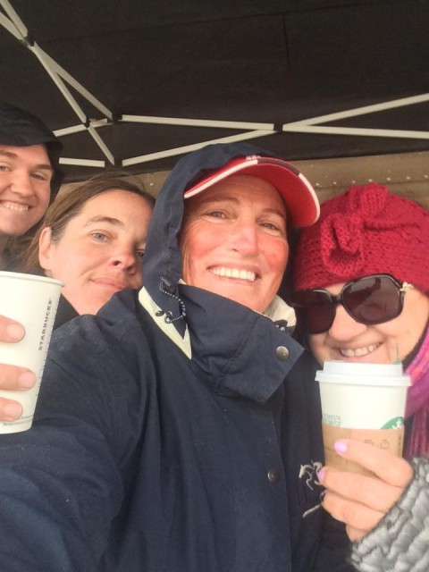 Staying warm and dry on the Wet Coast, I mean West Coast! Photo from Debi Ravenscroft's Facebook Page