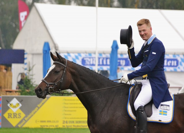 Niklas Lindbäck and Cendrillon after dressage at Boekelo. Photo by Jenni Autry.