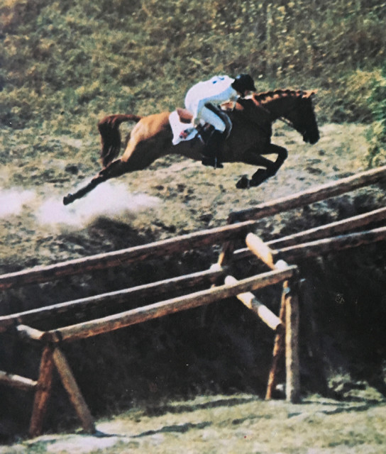 Lucinda Green and Be Fair forwards and in flight over the notorious Fence two at the Kiev European Championships in 1973. Photo courtesy of Lucinda Green.