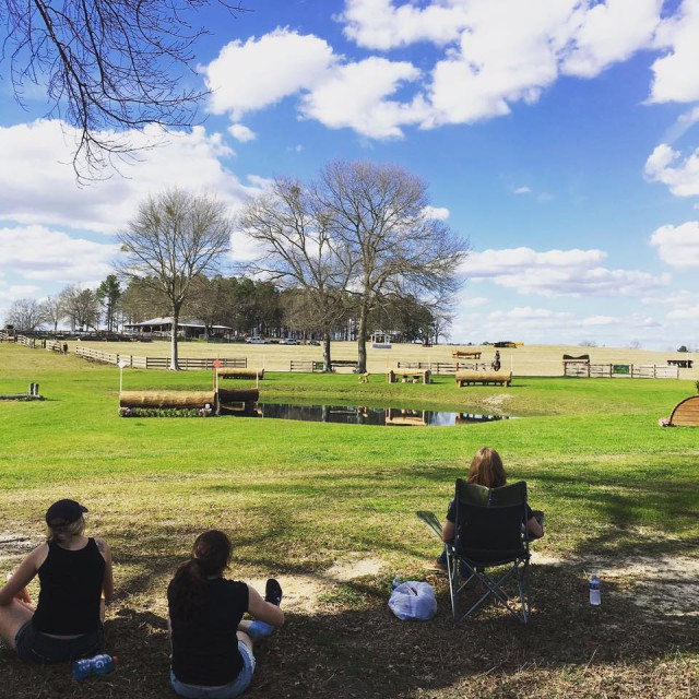 Tank tops and shorts while fence judging in February? Sign me up!  Photo via Pine Top Eventing on Facebook.