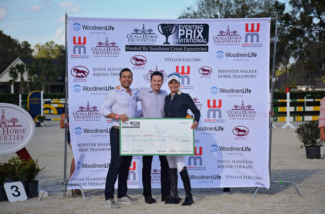 Rob Desino and Matt Varney of title sponsor Ocala Horse Properties with $15,000 Eventing Prix Invitational winner Sara Kozumplik Murphy. Photo by Jenni Autry.