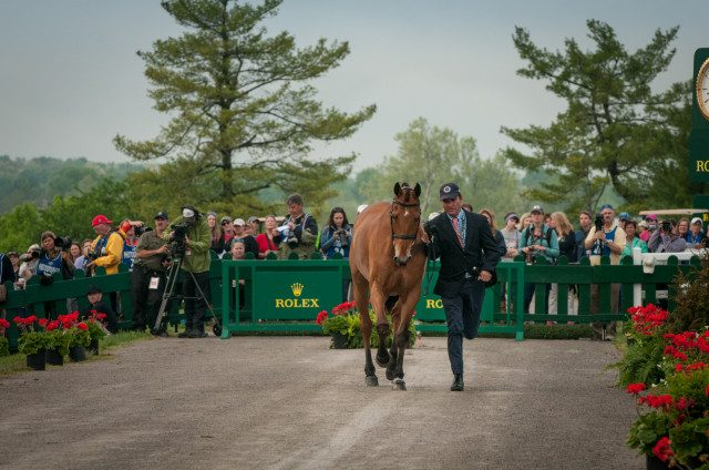 Phillip Dutton and Fernhill Fugitive at the Rolex Horse Inspection. Photo by Leslie Threlkeld.