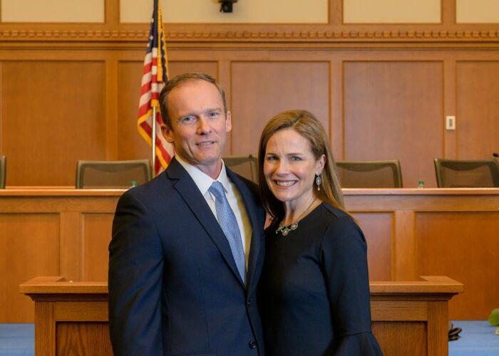 Judge Barrett with her husband, Jesse