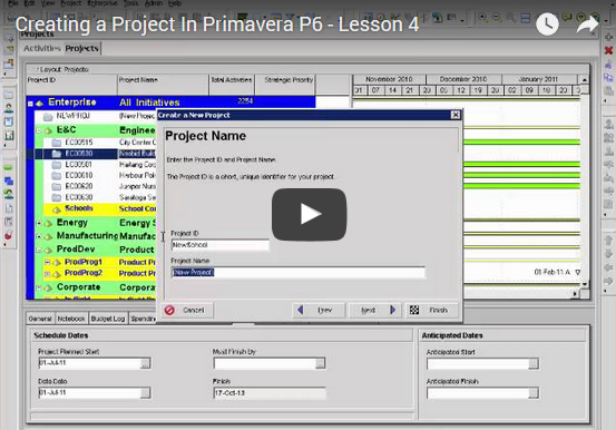 YouTube Lesson 4: Creating a Project In P6