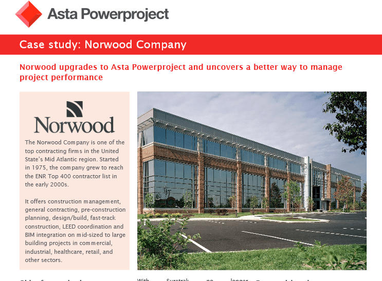 Asta Powerproject Case Study – Norwood Company