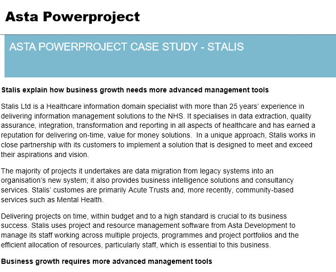 Asta Powerproject Case Study – Stalis