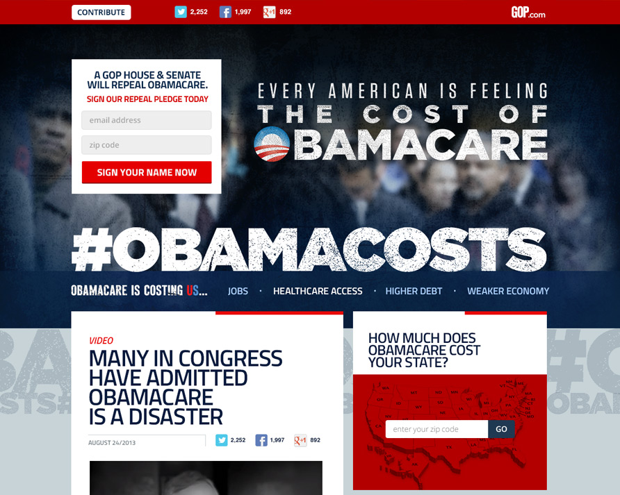 Obamacosts landing page