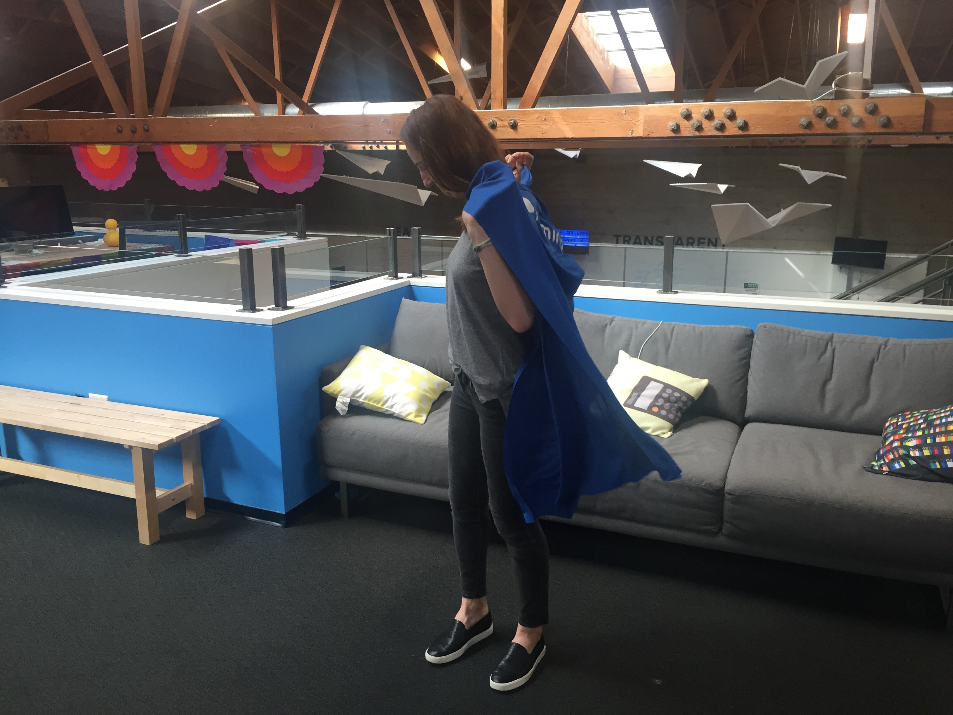 The Live Chat cape in action