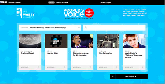 "The Webby Awards ""People's Voice"" web application"