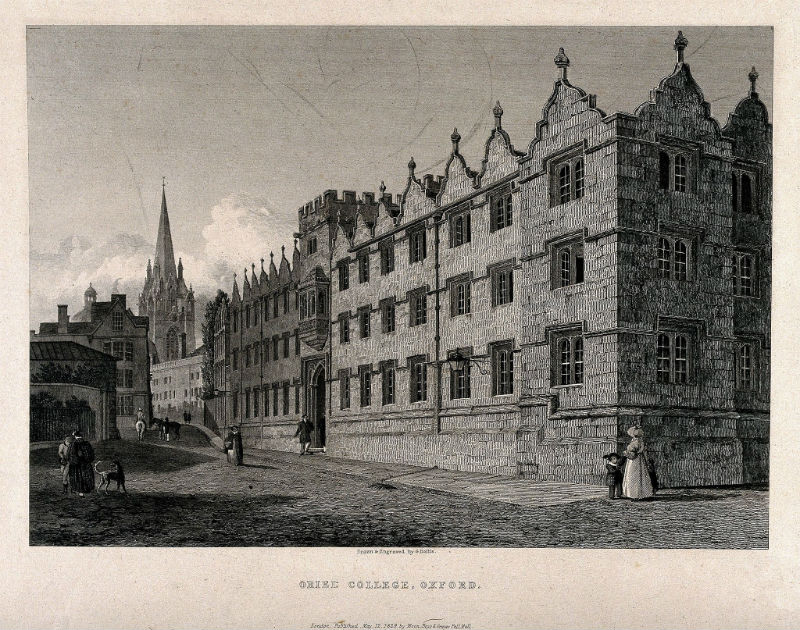 Oriel College, Oxford; panoramic views. Line engraving by G. Wellcome V0014143