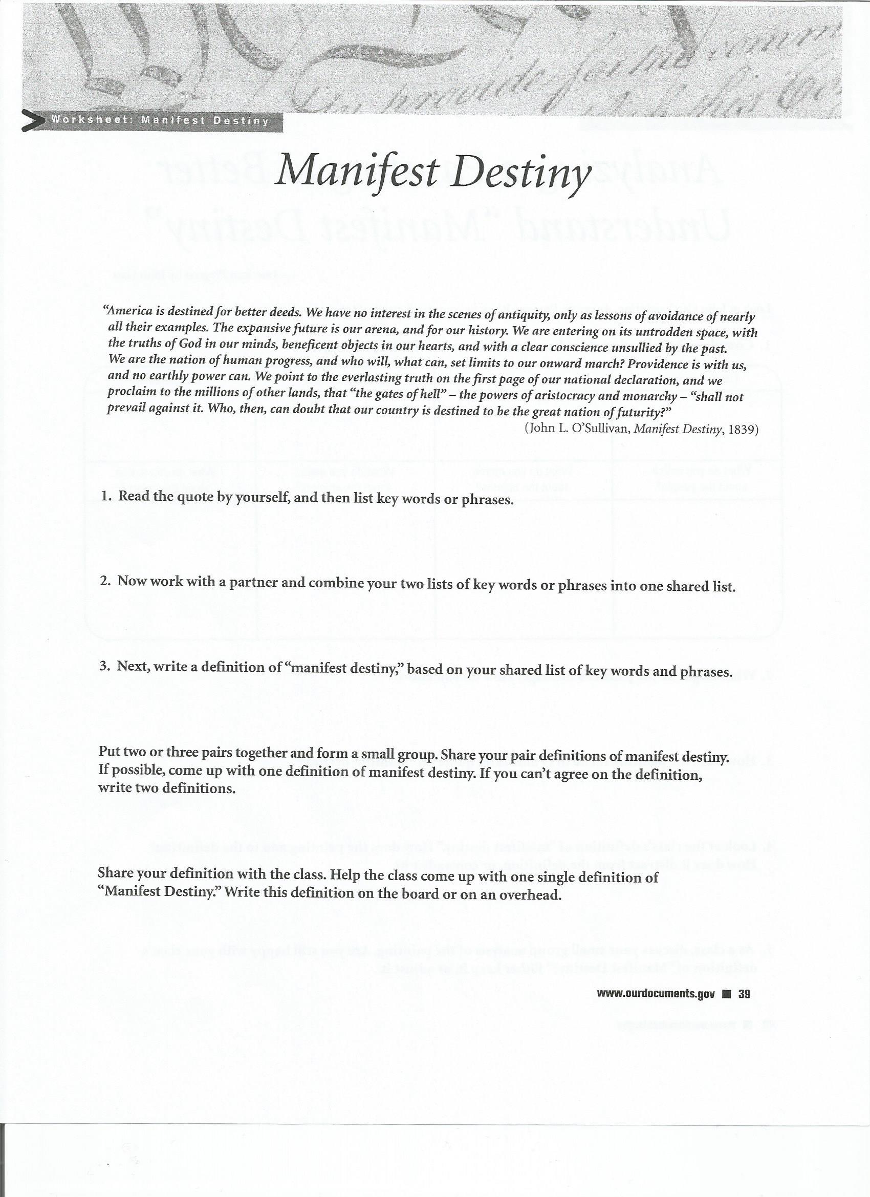 Uncategorized Manifest Destiny Worksheet essay on manifest destiny history elaqo worksheet laveyla com essay