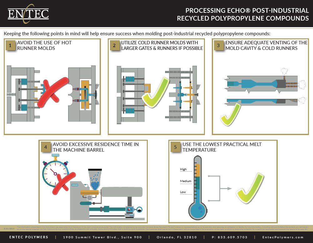 The purpose of this document is to provide guidance and suggestions for processors that may be unfamiliar with processing post-industrial recycled plastic compounds, such as Entec Polymers ECHO® recycled polypropylene.