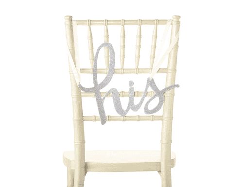 Kate Spade New York Bridal Chair Signs, His & Hers (Silver)