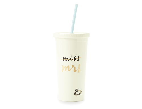 Kate Spade New York Insulated Tumbler with Straw, Miss to Mrs.