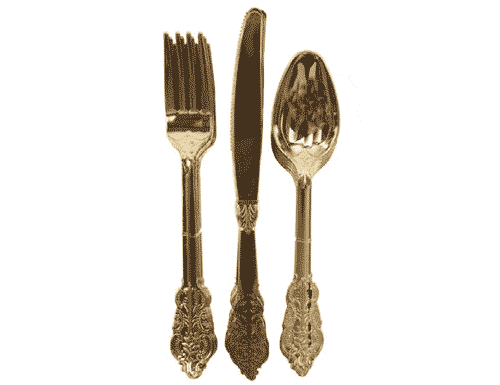 Party Porcelain Cutlery - Gold